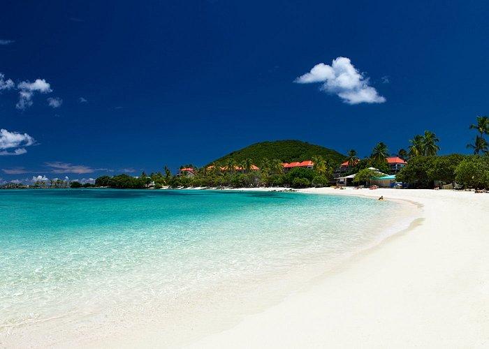View of the blue ocean water and beach, Virgin Islands