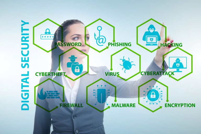 Female business woman pushing buttons related to cyber security