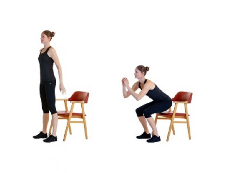 Graphic demonstrating a chair squat