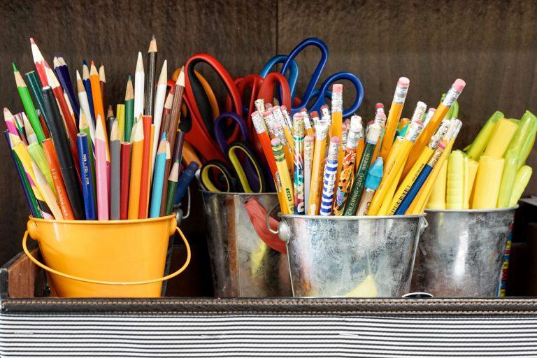 pen, pencils and scissors organization