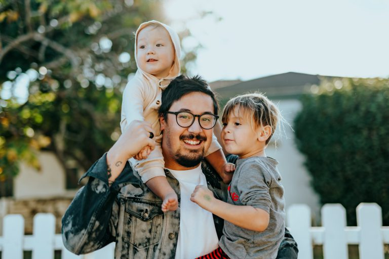 father with young children